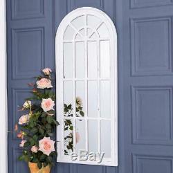 Large White Arch Mirror Window Panel Shabby Vintage Chic Hallway 120 cm x 50cm