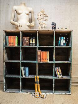 Large industrial pigeon hole unit, solid wood, 16 cube, storage, shelving, display