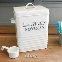 Laundry Powder Enamel Home Cream Storage Tin Box Kitchen Retro Container Jar LID