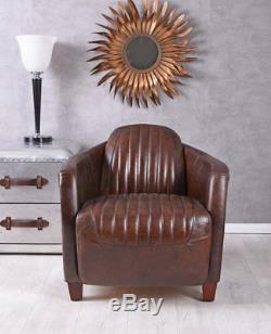 Leather Armchair Aeroplane Design Club Chair & Aluminium Aviator Vintage