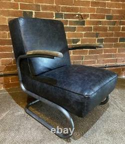 Leather Slab Armchair Industrial / Warehouse Vintage Retro Style RRP £799