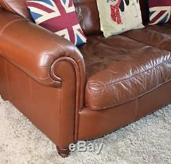Leather Sofa 3 seater Chesterfield Club Cigar Halo Deco Vintage Brown Tan