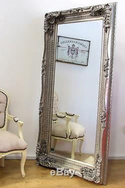 Louis Large Ornate Carved French Frame Wall Leaner Mirror Silver 176cm X 90cm