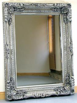 Louis Shabby Chic Vintage Ornate Large French Wall Mirror Silver 118cm x 87cm