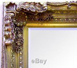 Louis X Large Shabby Chic Full Length Wall Leaner Floor Mirror Gold 176cm x 90cm