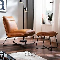 LuvChairs' Soho Tan Retro Vintage Industrial Leather Occasional Lounge Chair