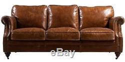 Luxury Distressed Vintage Tan Leather Handmade Sofa 3 Seater Settee Retro