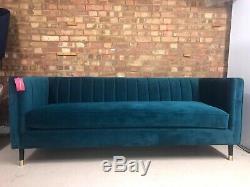 MADE. COM Evadine 3 Seater Sofa Seafoam Blue Velvet RRP £599