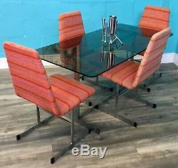 MID Century Vintage Retro Pieff Chrome And Glass Dining Table And Chairs