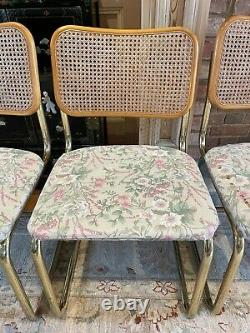 Marcel Breuer Cesca Chairs Set of Four Brass Legs Wicker Back Retro Vintage