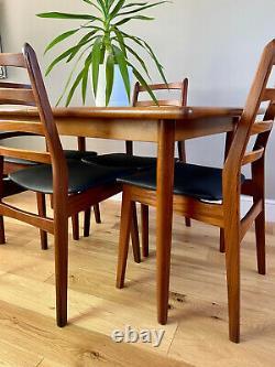 Meredew Vintage Mid Century Extending Teak Dining Table / 4 Mid-Century Chairs