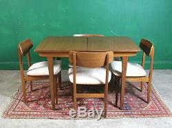 Mid Century Jentique Dining Table & 4 Chairs, Extending, Teak, Retro, Vintage