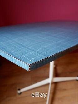 Mid Century Vintage Retro Blue Formica Kitchen Dining Table / Desk 1960s 1970s