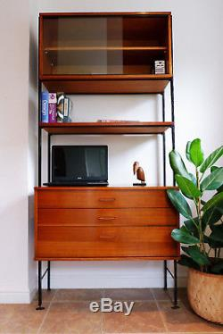 Mid century vintage retro teak Avalon Ladderax style wall unit desk 1960s 1970s