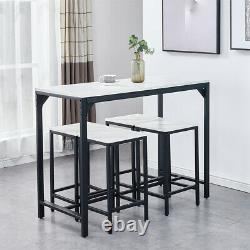 Modern Bar Table and 4 Stools Set Industrial Breakfast Dining Set Marble vein UK