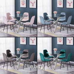 Modern Nova Dining Table / 4Pcs Chairs Set Velvet Padded Seat Dining Room Clear