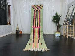 Moroccan Boujad Handmade Runner Rug 2'4x11'4 Berber Abstract Green Pink Wool Rug