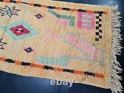 Moroccan Boujad Handmade Runner Rug 2'5x11'2 Geometric Yellow Berber Wool Rug