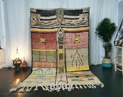 Moroccan Vintage Handmade Wool Rug 5'5x8'7 Berber Boujaad Tribal Colorful Rug