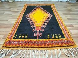 Morocco Vintage Handmade wool rug Bohemian Berber Rug 4x7 Taznakht Black carpet