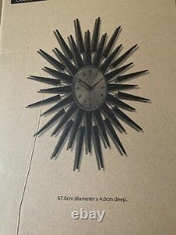 NEWGATE Pluto Clock Sunburst Design 67cm Diameter -(NEW)