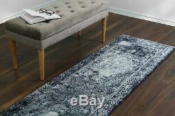 Navy Blue Classic Vintage Style Area Rugs Oriental Faded Medallion Design Carpet