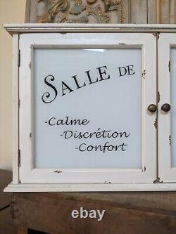New Cream VINTAGE French Shabby Chic Glass Wall BATH Medicine Cabinet Cupboard