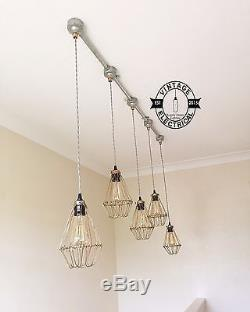 New Industrial 5 X Cage Hanging Light Ceiling Vintage Lamps Cafe Kitchen Table
