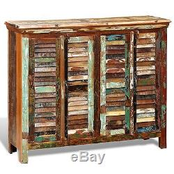 New Reclaimed Home Furniture Wood Storage Cabinet Sideboard 4 Doors Multicolour