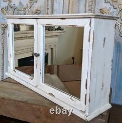 New VINTAGE French Cream Shabby Chic Rustic Wall BATH Mirror Cabinet Cupboard