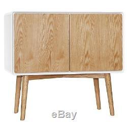 Oak & White Retro Designer 2 Door Sideboard Storage Unit. Full range available