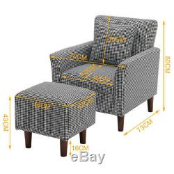 Occasional Scalloped Button High Back Fabric Armchair Sofa Chair Footrest Stool