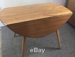 Original Ercol Vintage Elm Drop Folding Leaf Oval Round Dining Kitchen Table
