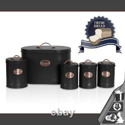 Oval Bread Bin 5pc Set With Biscuit, Tea, Coffee, Sugar Canisters Vintage Black