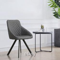 Pair Grey Dining Chairs Faux Leather/PU Metal Leg Kitchen Dining Room Retro