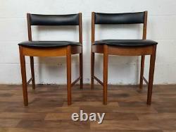 Pair Of Vintage McIntosh Dining Chairs Teak & Black Vinyl 9533 Mid-Century Retro