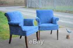 Pair of Blue Armchairs Vintage Retro