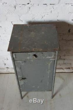 Pair of Industrial Vintage Bedside Cabinet Cupboard Table raw- Metal Soviet