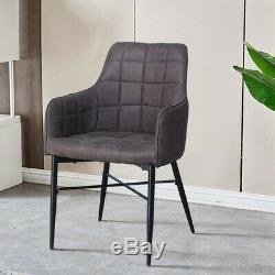 Pair of Retro Faux Leather Dining Chairs Armchairs Kitchen Office Chair Grey