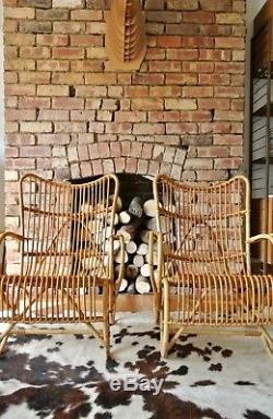 Pair of Retro Vintage Mid Century Danish Bamboo Armchairs