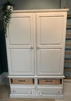 Pine Painted Storage Larder Kitchen Cupboard with Spice Racks & Baskets