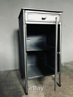 Polished metal bedside cabinet- vintage industrial- several designs
