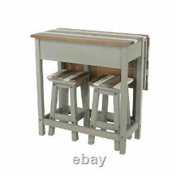 Premium Grey Vintage Corona Set Breakfast Bar Table and 2 Stools Drop Leaf Table