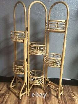 RARE VINTAGE 55 Rattan Bamboo 6 Plant Tri Folding Stand Boho MCM Kitchen Rack