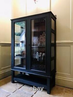 RESERVED Vintage Black Painted Display China Bookcase Glazed Drinks Cabinet