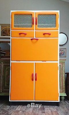 RETRO ORANGE kitchen larder CUPBOARD CABINET PANTRY CABINET KITCHENETTE VINTAGE