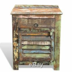 Reclaimed Home Furniture Vintage Wood Side Storage Cabinet Stand Multicolour