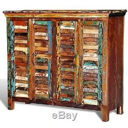 Reclaimed Home Furniture Wood Storage Cabinet Sideboard 4 Doors Multicolour