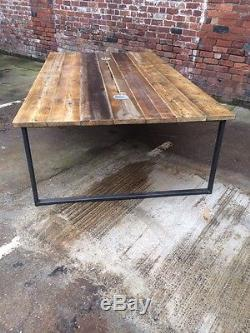Reclaimed Industrial Chic 10-12 Seater Conference Office Table, Steel, Wood, Bar