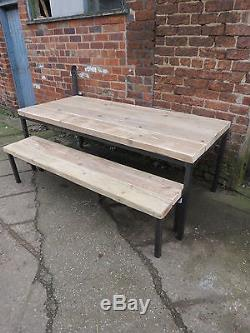 Reclaimed Industrial Chic 10-12 Seater Wood & Metal Dining Table. Bar, cafe, Pub